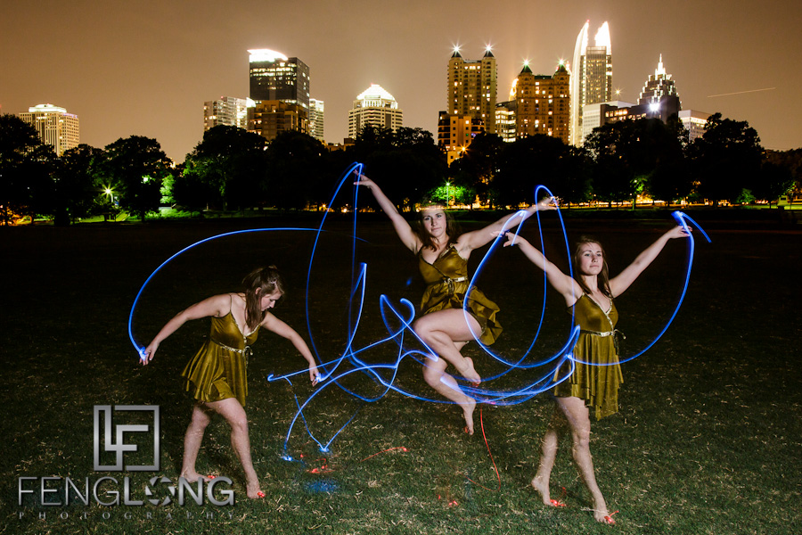 Megan Dances with Light | Light Painting in Piedmont Park | Atlanta Creative Wedding Photographer