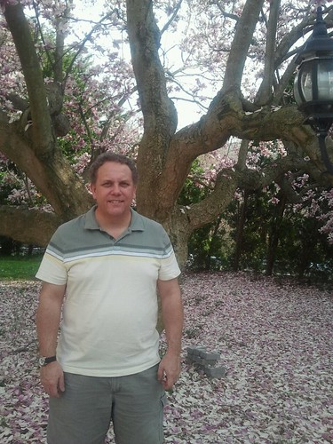 Brian under the Magnolia tree at the B&B