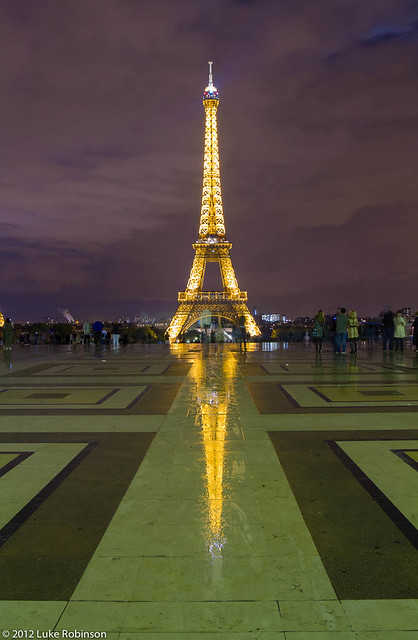 Eiffel Tower from the Palais de Chaillot, by night