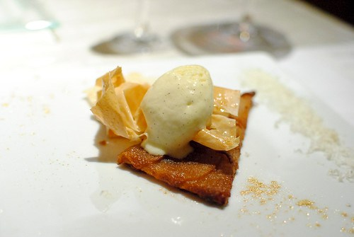 """Pacific Rose Apple Tart """"roti,"""" Vanilla-Calvados Ice Cream, Roquefort Papillon"""