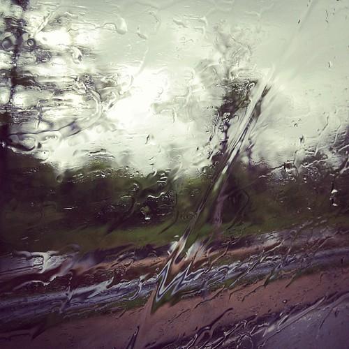 A raini day on a buss