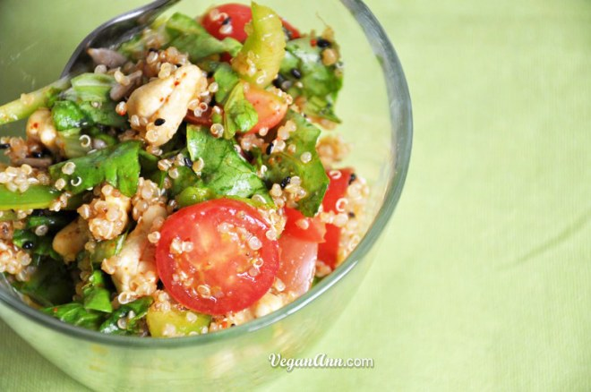 quinoa salad with nuts and Asian Dressing 1