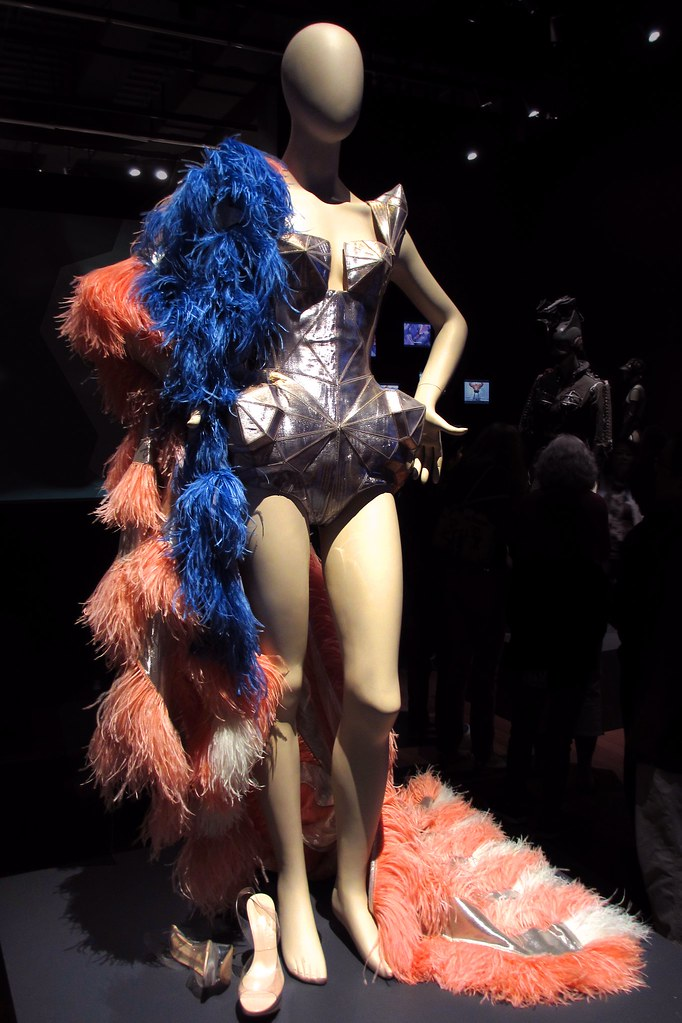 Barbarella bodysuit, Movie Stars collection, haute couture FW 2009-2010; American flag costume worn by Kylie Minogue during her For You, For Me tour (2009).