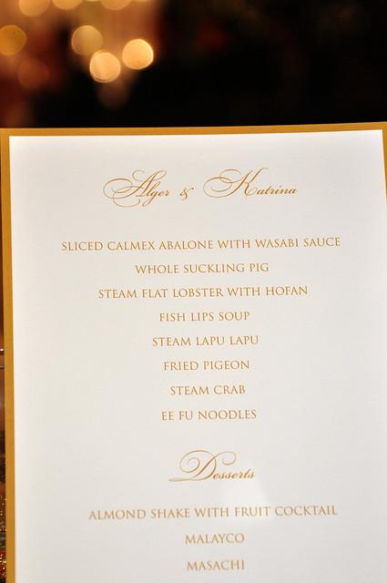 Chinese wedding lauriat menu