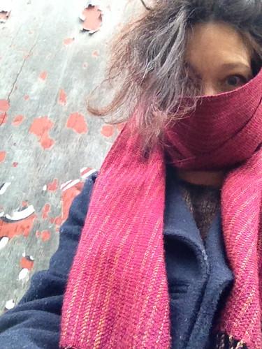 Ursula wearing her pirtti handwoven scarf