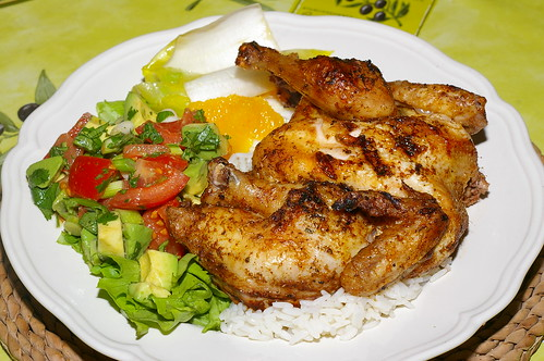 Spatchcocked poussin with salads and rice by La belle dame sans souci