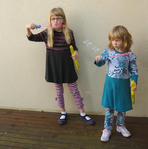 blowing bubbles - wearing nigella tunics