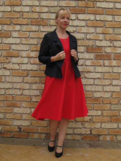 Red Linen Elisalex Bodice with Half Circle Skirt