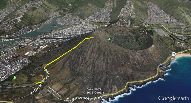 Koko Crater Google Earth Image