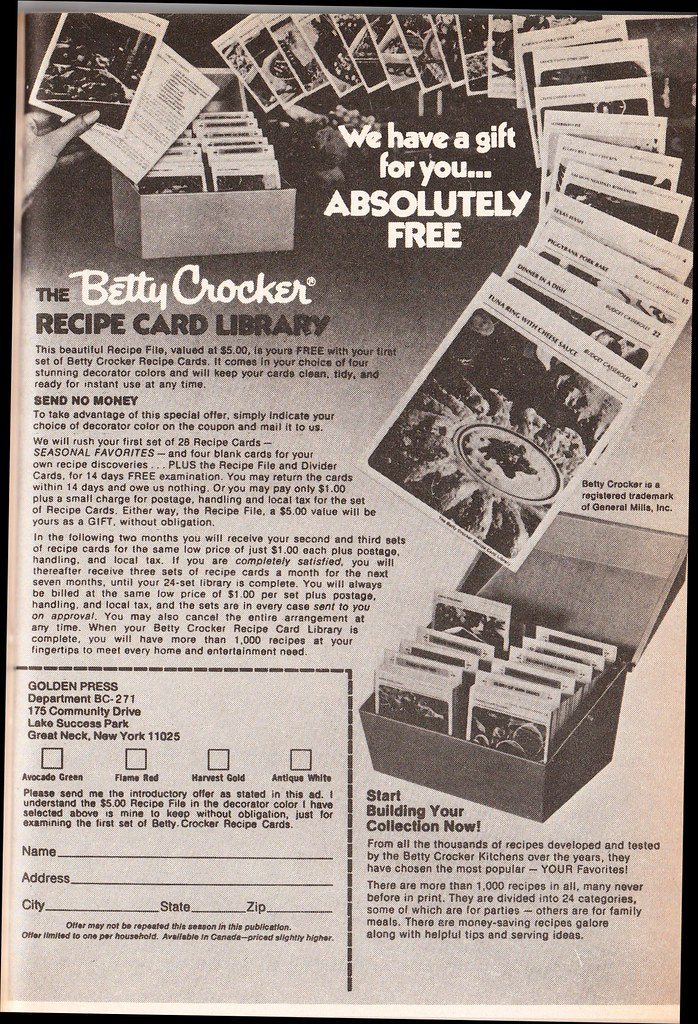 Betty Crocker recipe cards