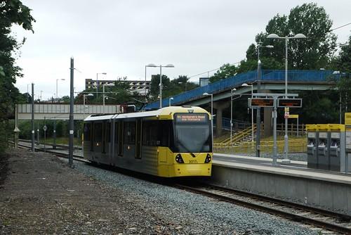 Oldham Mumps Metrolink station and Flexity Swift M5000 3017