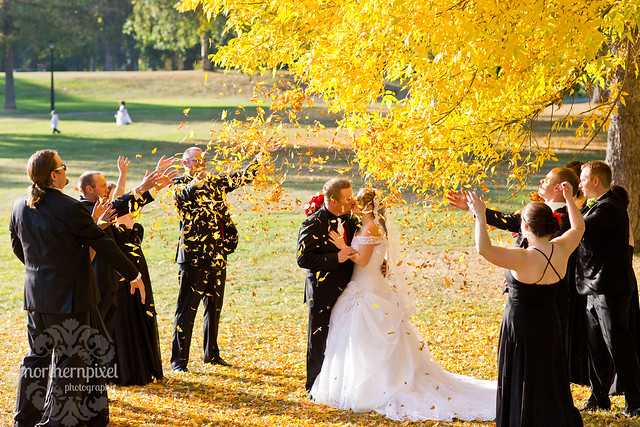 throwing leaves fall wedding