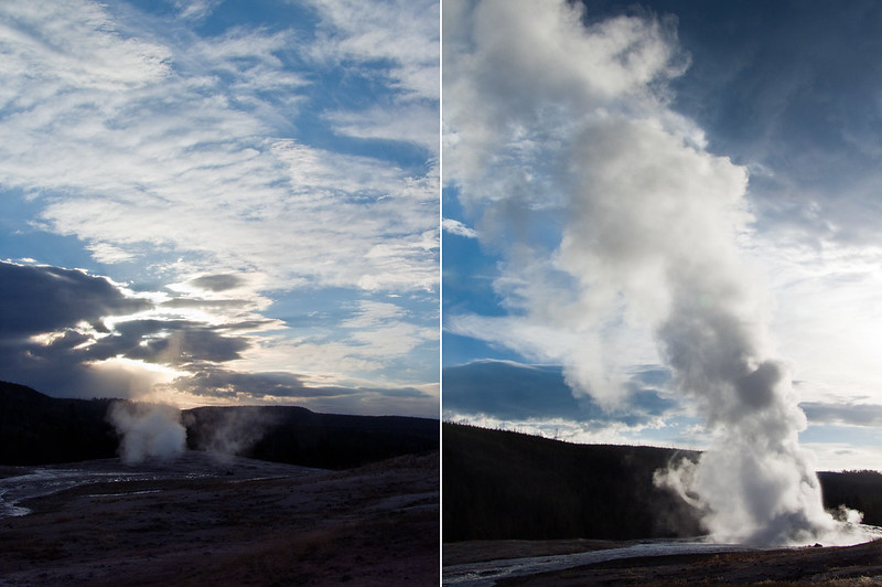 Old Faithful Geyser erupting during sunrise