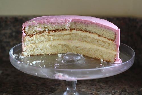 layers of peach melba cake