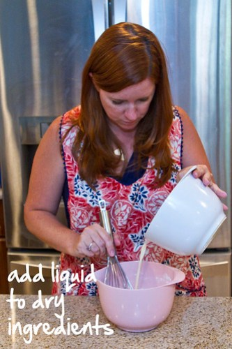 add liquid to dry ingredients