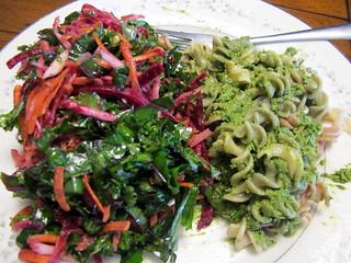 Beet Salad and Pesto Pasta