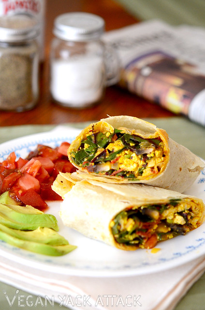 A filling Tofu Scramble Breakfast Burrito that has lots of nutrients and protein to get your day started off right!