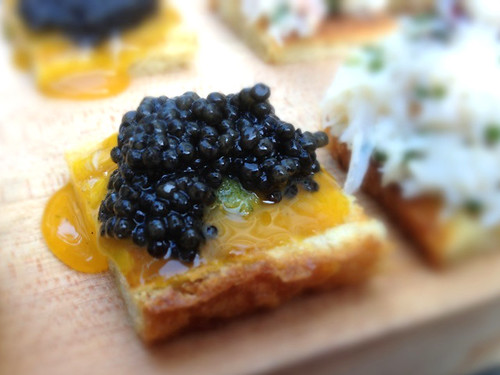 Petrossian Caviar, Egg Yolk, Cucumber Dill Crostini at Whist Santa Monica