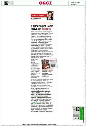"""ROMA ARCHEOLOGICA - """"Roma eterna come la commendai all' italiana che rappresenta"""", in: V. Sgarbi, Il rispetto per Roma arriva via decreto. OGGI (02/05/2012), p. 97.  by Martin G. Conde"""