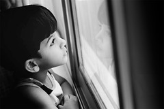 A boy looks out of a window
