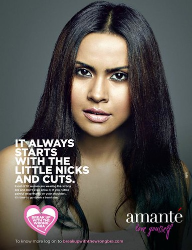 Amanté bra ad featuring confused-looking Indian woman