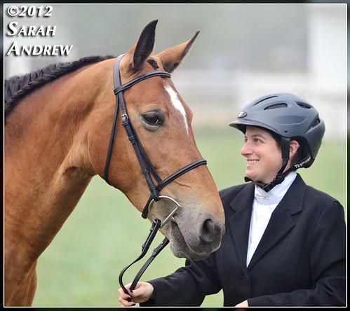 Kris Milby and her mare, Sunny, a BLM Mustang and Helping Hearts Equine Rescue grad, at a dressage show this weekend.