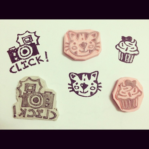 Rubber stamps: camera, cat, cupcake