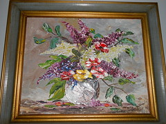 1972 floral oil painting Jane Johnson