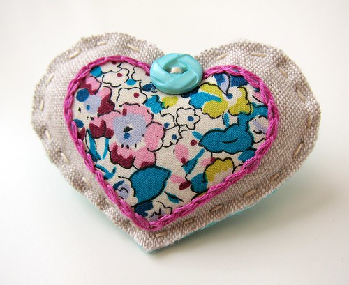 Completed Scrappy Sweetheart Brooch