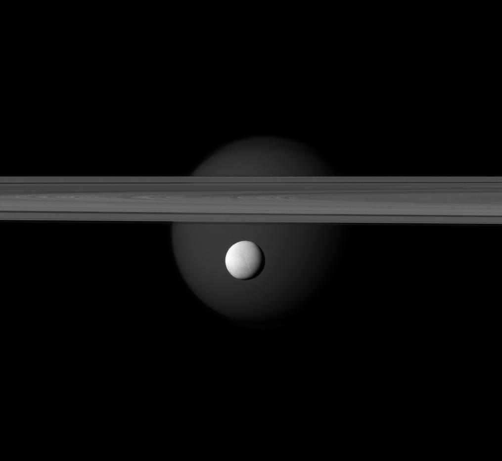 Enceladus, Titan and Saturn's rings