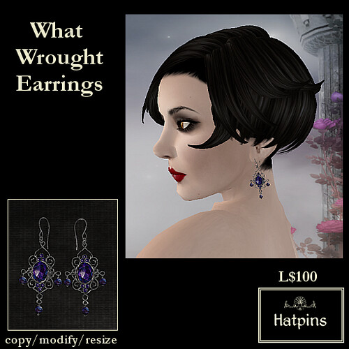 Hatpins - What Wrought Earrings - Dark Amethyst