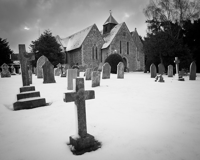 Fishbourne Church in the snow