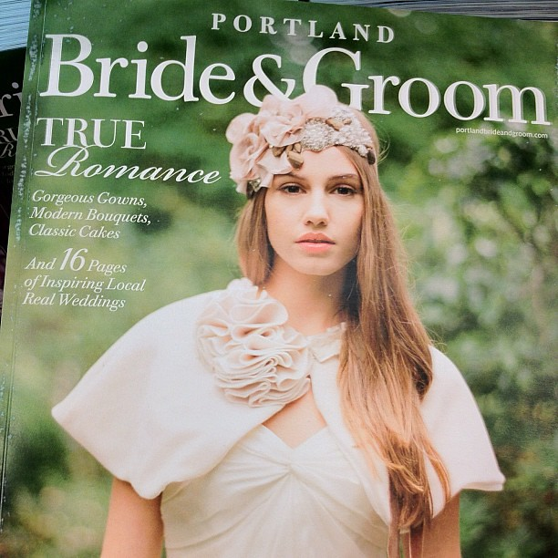 Bookstore failed at getting @elizabethmessina 's book on its shelf so I have to wait, but pleasantly surprised to see her photo on the cover of Portland Bride & Groom!