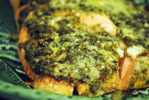 Gluten Free Pesto Crusted Salmon