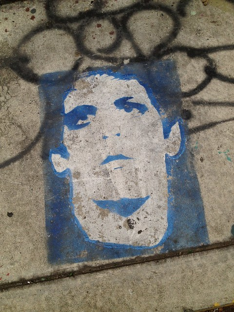 Lou Reed sidewalk stencil, Osage Street