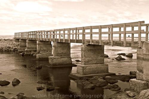 river bridge in sepia