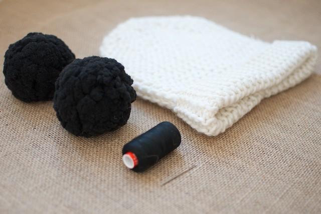 blogger Geneva Vanderzeil makes a DIY double pom pom beanie 2