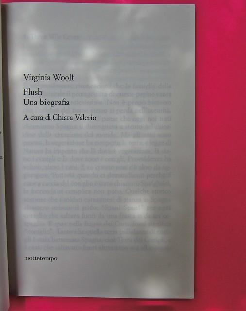 Virginia Woolf, Flush. Una biografia. A cura di Chiara Valerio; nottetempo, Roma 2012. progetto grafico di Dario e Fabio Zannier. frontespizio (part.), 1