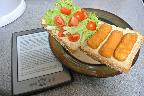 New book and fish finger sandwich - 3rd July 2012 - Day 34