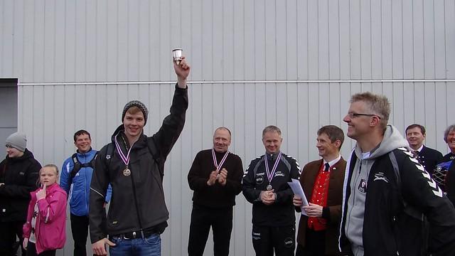 A happy Magnus after winning the Tórshavn 400 Pier Swim
