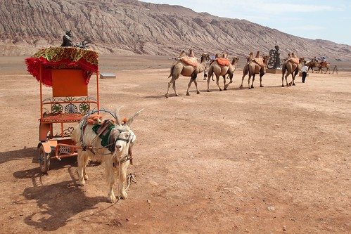 Goat Express at the Flaming Mountains outside of Turpan