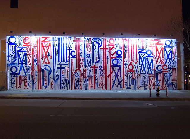 Popular RETNA Mural on the Bowery and Houston Street Wall