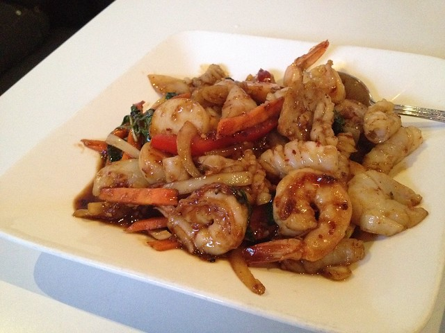 Combination seafood with spicy basil - Thai House Express