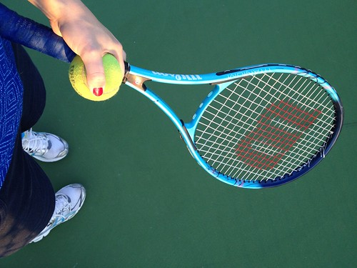 my feet and tennis racket/ball