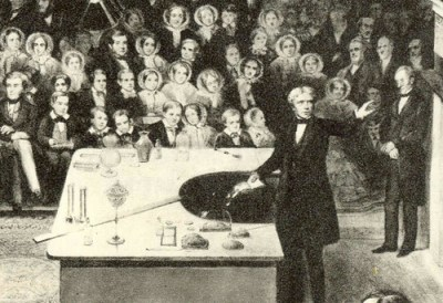 Michael Faraday delivering a lecture in 1856