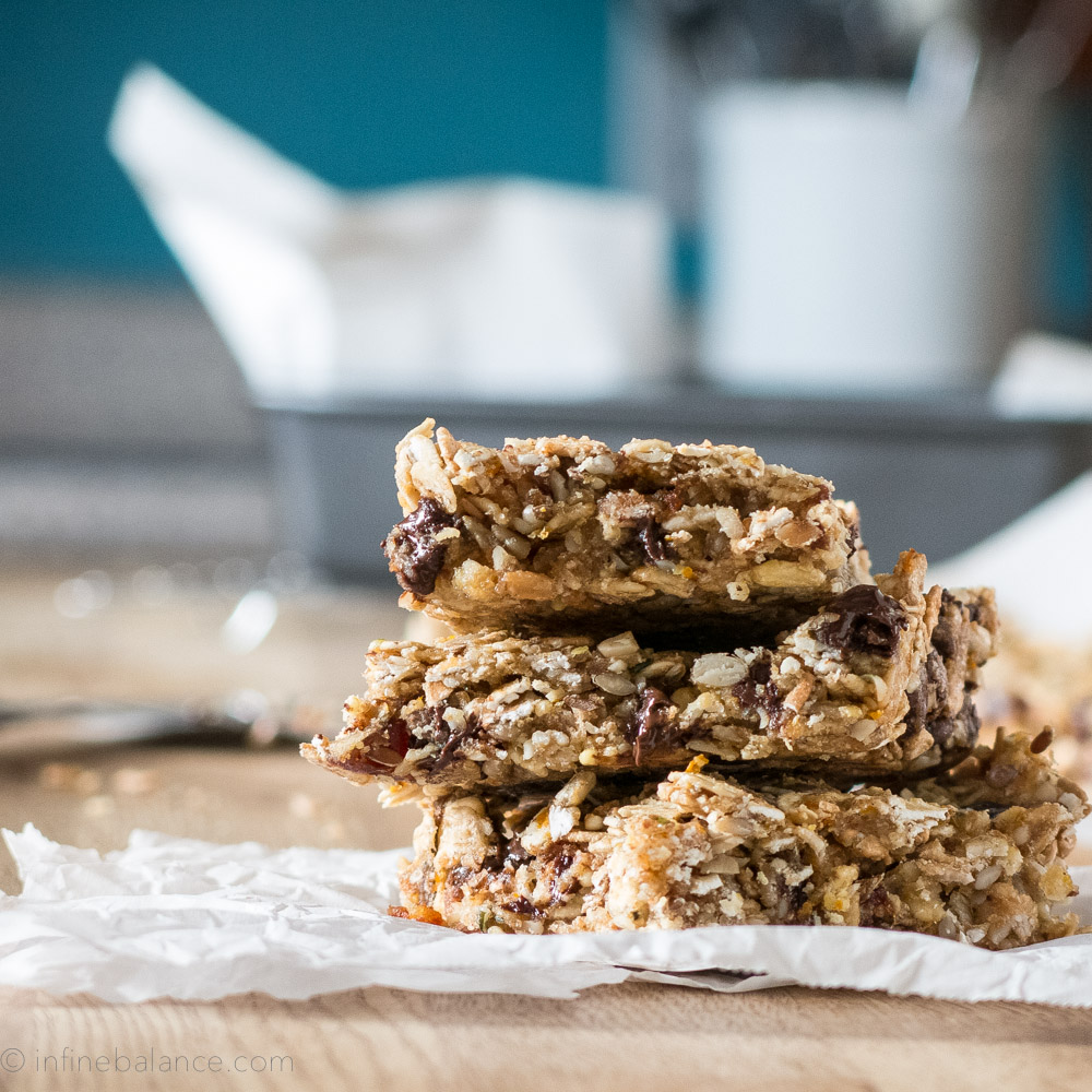 Orange, Date and Chocolate Granola Bars | www.infinebalance.com #vegan #nut-free