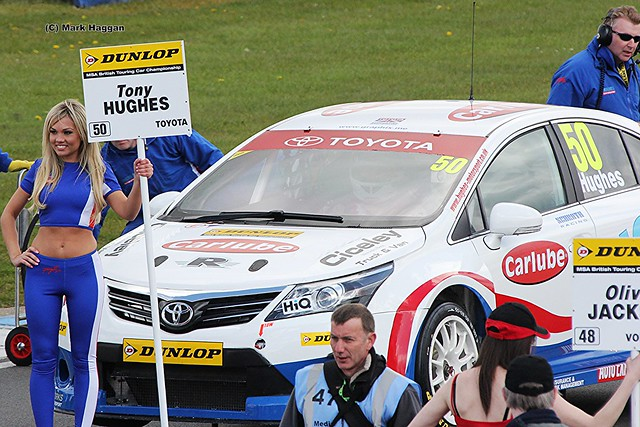 Tony Hughes on the grid for the BTCC race at Donington Park, April 2012