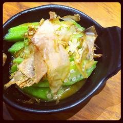 wasabi okra with bonito flakes
