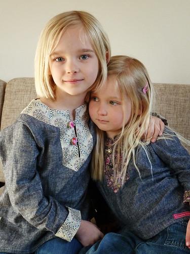 Sisters wearing Charlie tunics