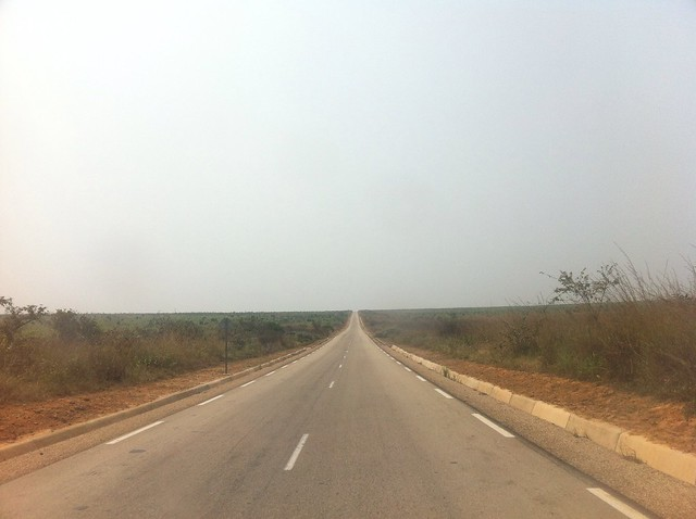 The road heading away from Kinshasa airport and the city